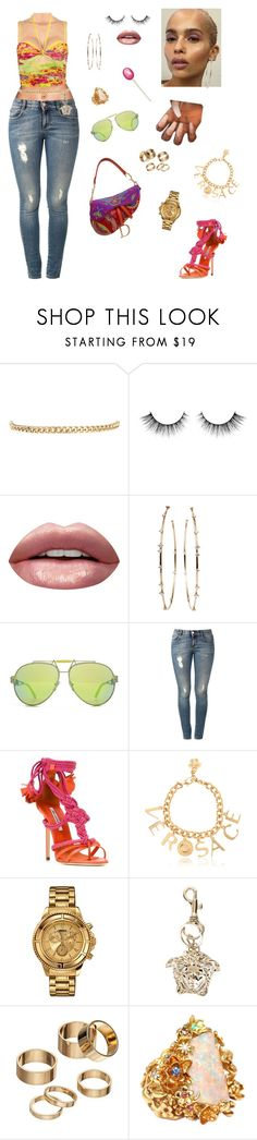 """Rooftop pool party☀️"" by styledbystaes ❤ liked on Polyvore featuring Warehouse, Huda Beauty, Mattia Cielo, Versace, STELLA McCARTNEY, Brian Atwood, Versus and Apt. 9"