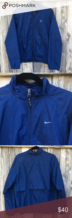 Nike windbreaker in solid blue 100% nylon. Fully lined with 100% polyester black mesh.  Super dope blue Nike windbreaker can set off any outfit. Super sporty chic! Worn only twice! Excellent condition!! Would look cute worn oversized with a white tunic dress underneath. Also sick with crisp white ts and denim shorts. Nike Jackets & Coats
