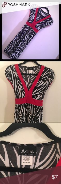 👗A list zebra w/ red stripes dress 👗 👗A list by rapper short-sleeved zebra with red stripes dress 👗in a size medium with red tie in the back. GUC. Very comfy. Don't forget to bundle to save 20% on entire purchase!!! Dresses Midi