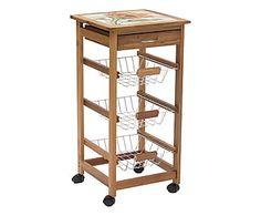 Carrello cucina a 4 cestelli + cassetto in legno e ceramica - 47x82x37 cm
