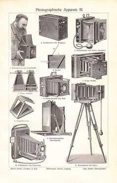 1908 Antique CAMERA print, photographic camera, art lithograph by Vintage and antique treasures, via Flickr