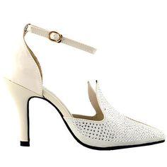 QT33328 Black/Beige Pointy Toe Crystal Ankle Strap Rabbit Ear Bridal Pump
