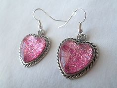 Sparkling Pink Glitter Nail Polish Dangle / Drop Earrings: 16mm Glass Hearts in Antique Silver Rope Edge Settings