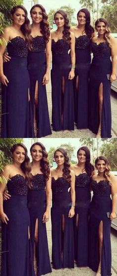 Dark Blue Long Bridesmaid Dress, Navy Blue Lace Bridesmaid Dresses,Front Slit Sheath Bridesmaid Gowns,Cheap Prom Dresses,Formal Woman Dress
