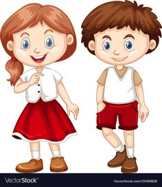 Boy and girl in red and white costume vector image on VectorStock Cartoon Drawings Of People, Cartoon People, Storybook Characters, Disney Characters, White Costumes, Happy Boy, Boy Or Girl, Techno, Red And White