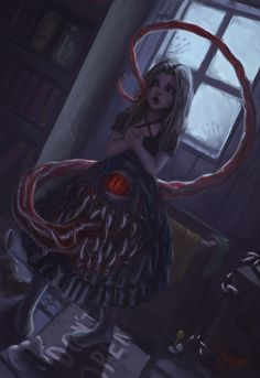 Hey guys o/ I love mimics, so i did a painting of a mimic dress. Hope you like Mimic Dress Monster Concept Art, Monster Art, Dark Creatures, Fantasy Creatures, Creature Concept Art, Creature Design, Arte Horror, Horror Art, Character Art
