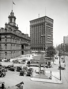 """The Motor City circa 1910. """"Campus Martius. Detroit City Hall, Bagley Fountain and Majestic Building."""" Detroit Publishing glass negative"""