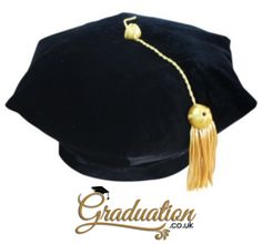 """American 6 Sided Doctoral Tam - Academic Regalia 6 Sided Tam • High-quality velvet fabric  • Comfortable velvet band allows one size fits all from 21"""" to 24"""" • Strong, durable reinforcement throughout  • Gold Strand and Bullion Tassel  • Each 6 Sided Velvet Tam is individually packaged in its own bag Cap And Gown, Girls Wear, Black Velvet, One Size Fits All, Tassels, Graduation, Strong, Band, American"""