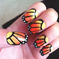 Monarch Butterfly Wing Nails