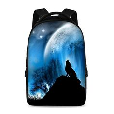 17-inch laptop bag multifunctional backpack school backpack young trend style Male Female Child Night Animal Fashion Laptop Cool