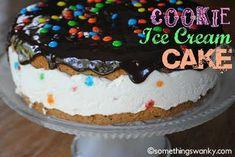Easy Ice Cream Cookie Cake - Something Swanky Ice Cream Cookie Cake Recipe, Ice Cream Cookies, Ice Cream Desserts, Frozen Desserts, Ice Cream Recipes, Cream Cake, Just Desserts, Delicious Desserts, Frozen Treats