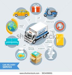 Car Delivery Service Conceptual Isometric Flat Style. Vector Illustration. Can Be Used For Workflow Layout Template, Banner, Diagram, Number Options, Web Design, Infographics, Timeline.