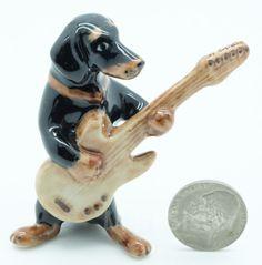 Figurine Animal Ceramic Statue Black Dachshund Dog Playing Guitar - FG056