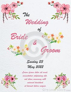 Illustration about Wedding invitation card with flowers, and dividers, ideal for weddings. Pink and grey colors. Illustration of dividers, invitation, texture - 111707480 Grey Colors, Wedding Invitation Cards, Dividers, Pink Grey, Bride Groom, Weddings, Illustration, Flowers, Wedding Invitations