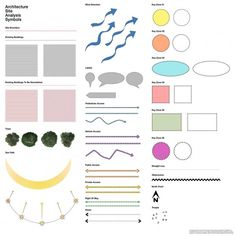 Architectural Site Analysis Symbols - Home Concept Board Architecture, Architecture Symbols, Site Analysis Architecture, Architecture Durable, Architecture Résidentielle, Conceptual Architecture, Architecture Presentation Board, Sustainable Architecture, Japanese Architecture
