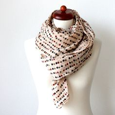 LARGE SCARF DOTS Summer Cotton Boho Hippie by ROCOCOaccessories