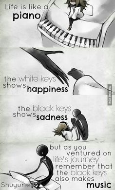 FR translation: Life is like a piano. The white keys represent the . - FR translation: Life is like a piano. The white keys represent joy. And the black keys represent sa - Sad Anime Quotes, Sad Quotes, Best Quotes, Motivational Quotes, Inspirational Quotes, Qoutes, Music Quotes Deep, Movie Quotes, Manga Quotes