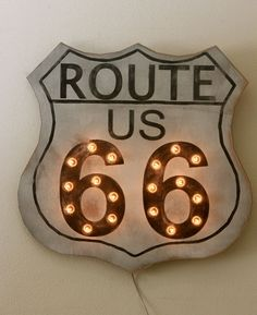 Wood Route 66 Sign Vintage Marquee