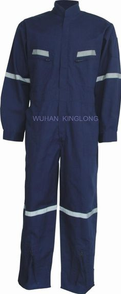 blue coverall with reflective tape