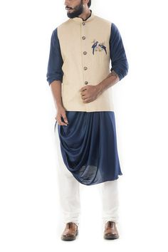 [New] The 10 Best Home Decor Ideas Today (with Pictures) - Blue cowl draped kurta with beige jacket. This is perfect for your sangeet function. Kurta Pajama Men, Kurta Men, Boys Kurta, Wedding Dress Men, Wedding Suits, Wedding Attire, Designer Suits For Men, Indian Designer Wear, Indian Groom Wear