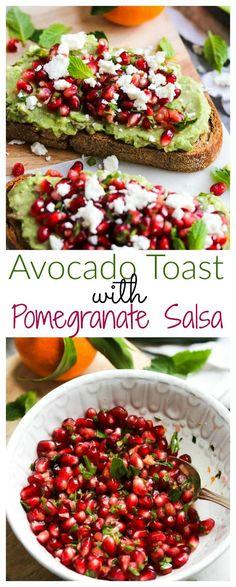 Avocado Toast with Pomegranate Salsa (gluten free, vegetarian)   dishingouthealth.com