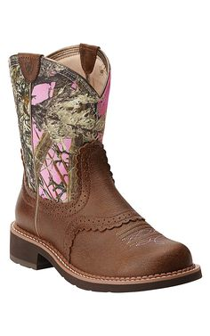 Ariat Fatbaby Heritage Women's Vintage Bomber Brown with Pink Camo Top Western Boot