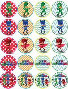 Instant Download PJ Masks cupcakes toppers PJ by alisprint