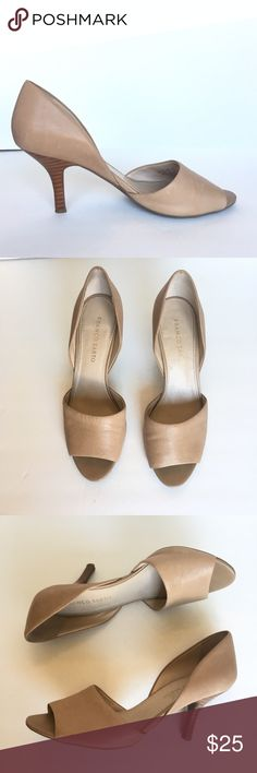 "Franco Sarto Ilsa D'Orsay Peep-Toe Pumps Nude - 9 These Franco Sarto Ilsa D'Orsay Peep-Toe Pumps in Nude are previously owned in Very Good Used Condition.  Wear can be seen slightly on top part of leather and shoe soles.  Perfect shoes for the office or night out.  DETAILS: The Franco Sarto Ilsa Dress Shoes feature a Leather upper with a Peep-Toe . The Man-Made outsole lends lasting traction and wear.  Heel Height:  3.5"" Franco Sarto Shoes Heels"
