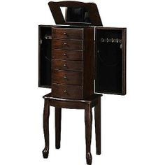 Walnut Armoire Jewelry Stand Necklace Hooks Jewelry Box Mirror Cabinet Wood Ring