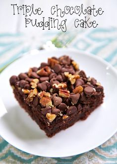 Triple Chocolate Pudding Cake Recipe - only 5 simple ingredients! Pudding, Milk, Cake Mix, Chocolate Chips and Pecans - makes a wonderful fudgy cake! Great topped with ice cream and chocolate sauce.