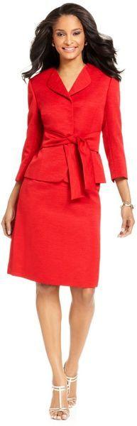 Tahari Three Quarter Sleeve Belted Jacket Skirt Suit