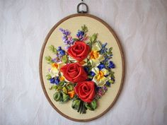 Embroidered Floral Silk Ribbons by EmbroideryByAnna on Etsy, $52.00
