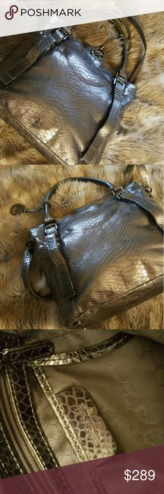 MK bag! Dark silver reptile look! Two smaller handles and one shoulder strap perfect for a woman who needs it all! Lovely shine to it perfect for sprucing up your fall and winter looks Michael Kors Bags Hobos
