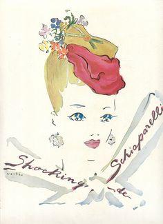 1943 Shocking de Schiaparelli perfume by Marcel Vertes  #vintage #ad