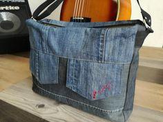 Besace Zip-Zip jeans recyclé cousu par Epik - patron Besace double zip homme Sacôtin