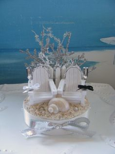 Adirondack Chairs On A Beach Wedding Cake TopperSeashell Topper