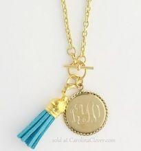 Tassel Statement Necklace with Gold Monogram Charm