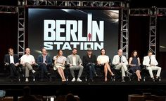 BEVERLY HILLS, CA - JULY 30:  (L-R) Executive producer Keith Redmon, creator/executive producer Olen Steinhauer, showrunner/executive producer Bradford Winters, actress Mina Tander, actor Richard Armitage, actor Rhys Ifans, actress Michelle Forbes, actor Richard Jenkins, actress Tamlyn Tomita and actor Leland Orser of 'Berlin Station' speak onstage during the EPIX TCA presentation at The Beverly Hilton Hotel on July 30, 2016 in Beverly Hills, California.  (Photo by Joshua Blanchard/Getty…