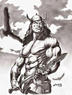 Conan the Barbarian by Carlos Augusto Braga Fantasy Heroes, Fantasy Warrior, Gothic Fantasy Art, Fantasy Artwork, Batman Comic Books, Comic Books Art, Conan The Barbarian Comic, Conan O Barbaro, Conan The Conqueror
