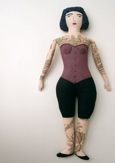 Tattoed lady doll - ingenious use of toile fabric