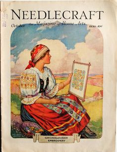 *Needlecraft Magazine Cover, October, 1930* art poster woman costume ukraine
