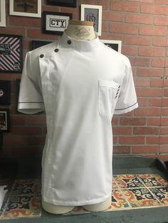 Hurson Barber Smock (white) Barber Shop Decor, Label Tag, Straight Razor, Smocking, Chef Jackets, Zipper, Barbershop, Sleeves, Cotton