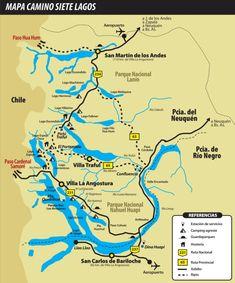 Carte de la route des 7 lacs, Bariloche