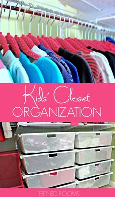Learn kids' closet organization tips as part of the organize and refine challenge How To Organize Your Closet, Organizing Your Home, Organize Kids Closets, Organize Room, Organizing Tips, Kids Bedroom Organization, Closet Organization, Organization Ideas, Kid Closet