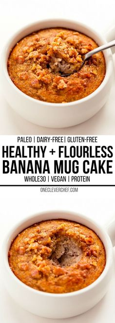 This healthy banana mug cake recipe is the perfect way to quickly satisfy your sweet tooth. This easy single serve dessert can be made either in the microwave for a simple 2-minute treat, or in the oven. This deliciously moist banana cake in a mug can als