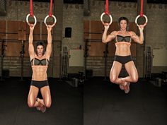Try these RING PULLUPS exercises demonstrated by Dana Linn Bailey