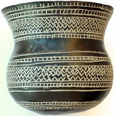 Prehistoric earthenware vessel, part of a beaker-culture pottery group. It was made of black clay decorated with incised geometric motifs filled with white paste. Dated in the early Bronze Age (19th/14th century BCE) this vessel was found in 1894 as a part of a funerary equipment at Ciempezuelos (Spain)