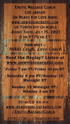Premiering Thurs July 15, 2021 at 9 pm ET/6 pm PT on Ready for Love Radio with host and Love Coach Nikki Leigh. Erotic Massage Coach Lee Jagger is my guest. Listen on www.newvisionsradio.com or TuneIn. Full details at www.lovecoachjourney.com/eroticmassagecoach. This show will contain adult content! Love Radio, Ready For Love, Erotic, Sheet Music, Massage, The Creator, Positivity, July 15, Relationships