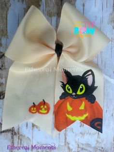 halloween/fall Cute Cat and Pumpkin handpainted cheer hairbow https://www.facebook.com/etherealmoments