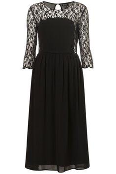 Top Shop Bodice Lace Insert Midi Dress